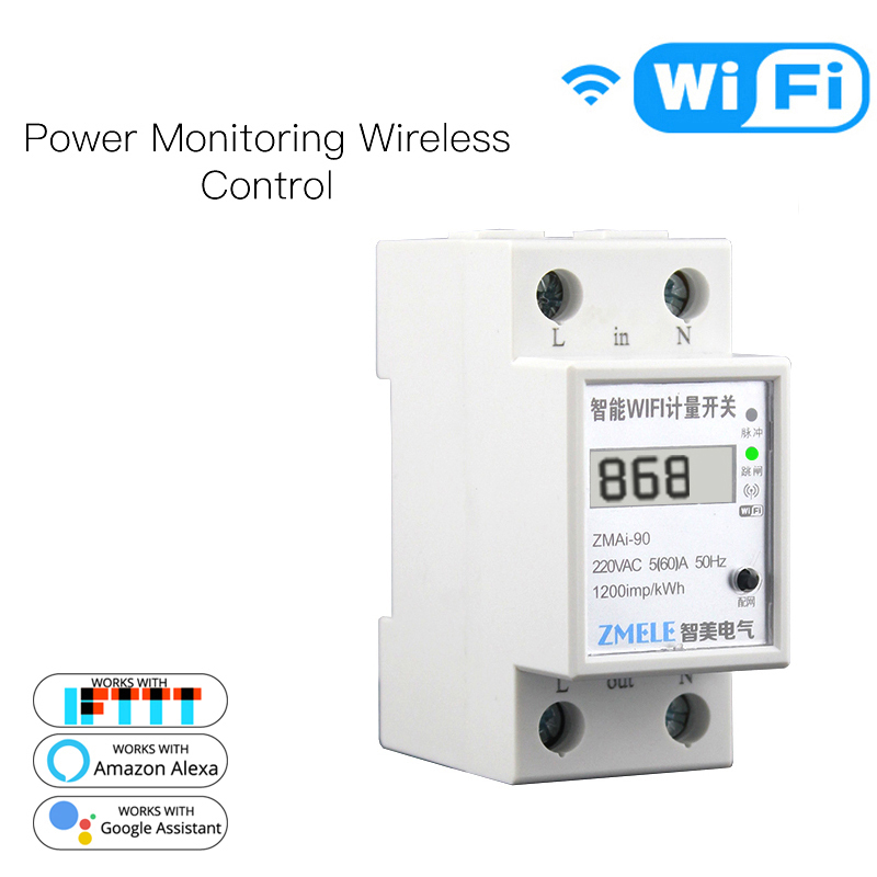 Smart WiFi Power Meter Switch Power Consumption Energy Monitoring Meter 110V 220V Din Rail Smart Life/Tuya APP Remote Control