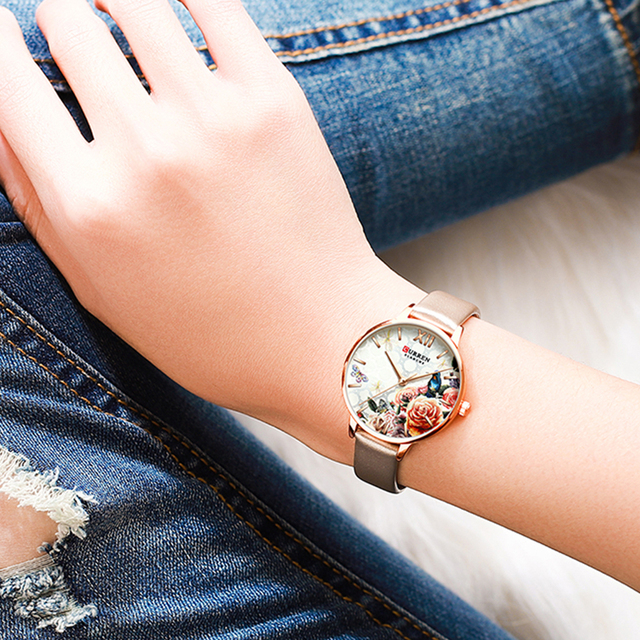CURREN יפה פרח עיצוב שעונים נשים אופנה מקרית עור שעוני יד גבירותיי שעון נשי שעון נשים של קוורץ שעון
