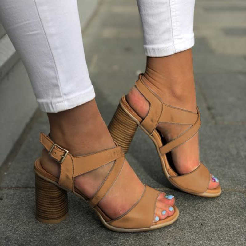 Swqzvt Plus Kích Thước Mùa Hè Giày Sandal Nữ Thiết Kế Nữ Da Giày Cao Gót Giày Vintage Khóa Cổ Điển Cổ Giày Sandal Nữ 2020