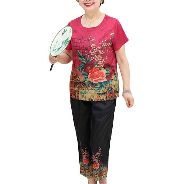 New Summer Casual Suit Women Short-sleeved T-shirt Nine pants Two-piece outfits Sets Women's Printed Pullovers Plus size Sets 4