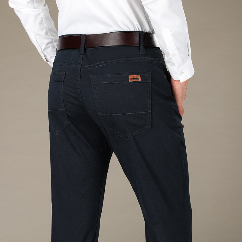 Autumn New Style Bordeaux Casual Pants Men's Slim Fit Straight-Cut Men Plus-sized Fat Lard-bucket Pants