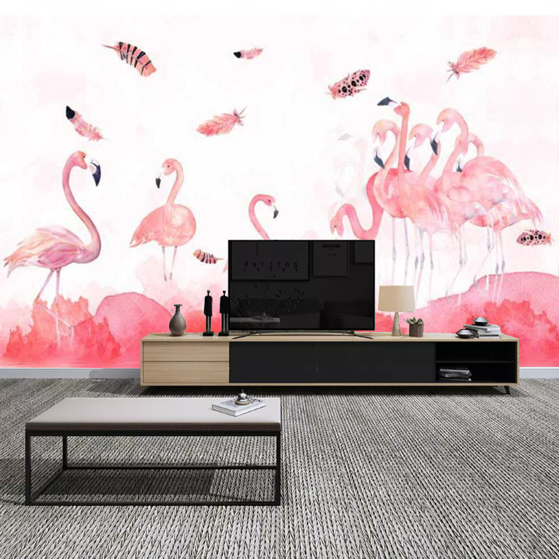 Flamingo Hand-Painted Creative Art Wallpaper Northern European-Style Wallpaper Bedroom Seamless Wall Cloth TV Backdrop Customize