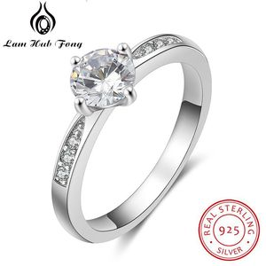 925 Sterling Silver Rings for Women Simple Style Cubic Zircon Ring Engagement Wedding Gift Silver 925 Jewelry (Lam Hub Fong)