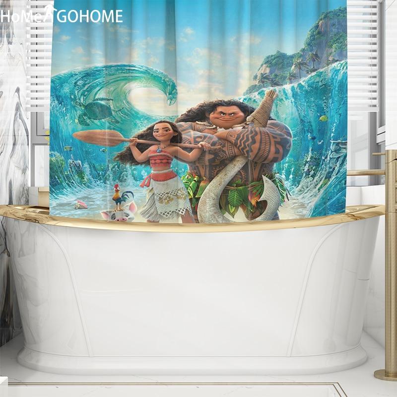 Shower Curtain Art Bathroom Decor Moana 3D Full Print Design Shower Curtains