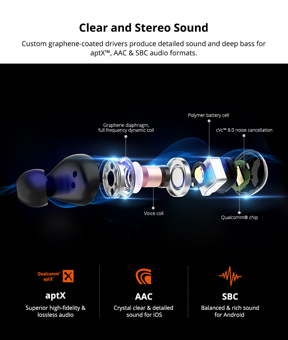 Tronsmart Spunky Beat Bluetooth TWS Earphone APTX Wireless Earbuds with QualcommChip, CVC 8.0, Touch Control, Voice Assistant (3)