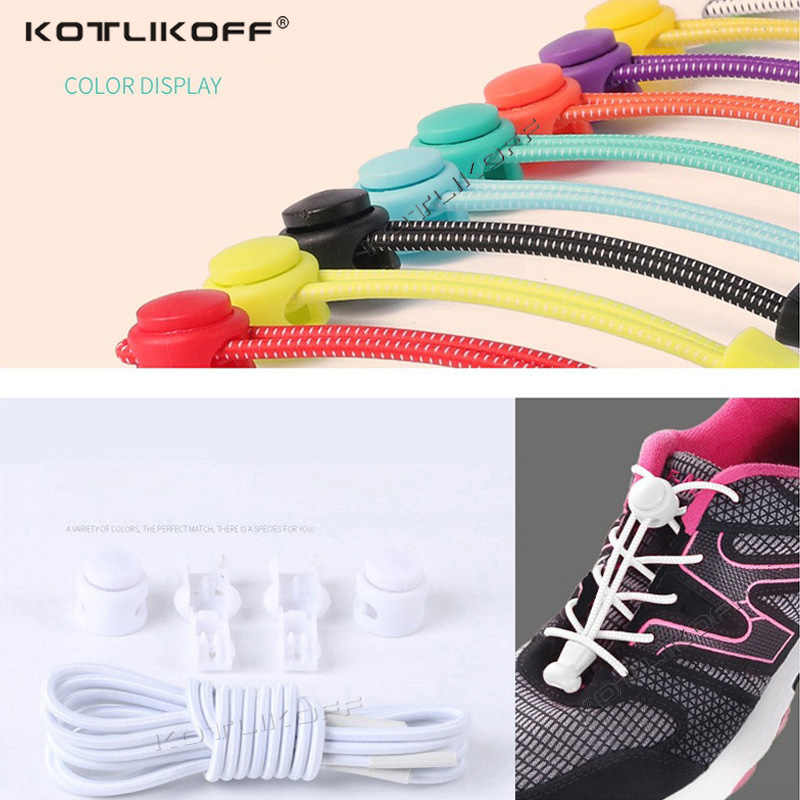 2PCS Lazy Shoelaces Elastic Round No Tie Shoe Laces Quick Locking Buckle Shoelace Kids Adult Sneaker Men Women 100cm Can be cut