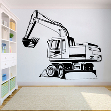 Vinyl wall sticker for Kids Boy Teenager Room wall decor excavator Wall decals Nursery Bedroom stickers home decoration HY740 classic car wall sticker for boy bedroom decor kids room decoration vinyl roadster vinyl wall decor stickers mural poster