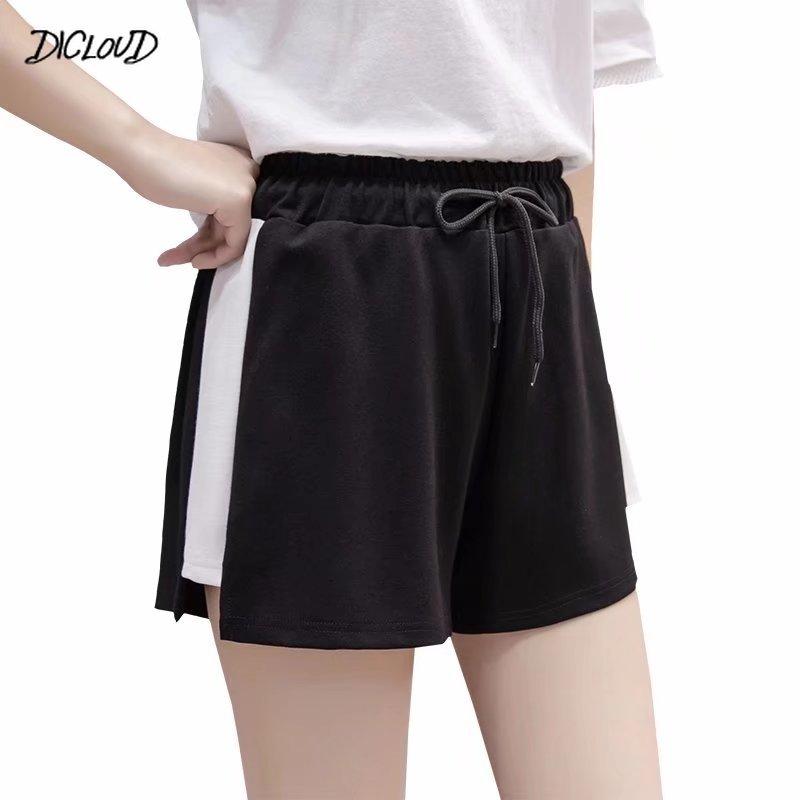 Women Drawstring Sport Shorts Casual Wide Leg Shorts Female High Waist Loose Casual Street Shorts Elastic Waist Women's Clothing
