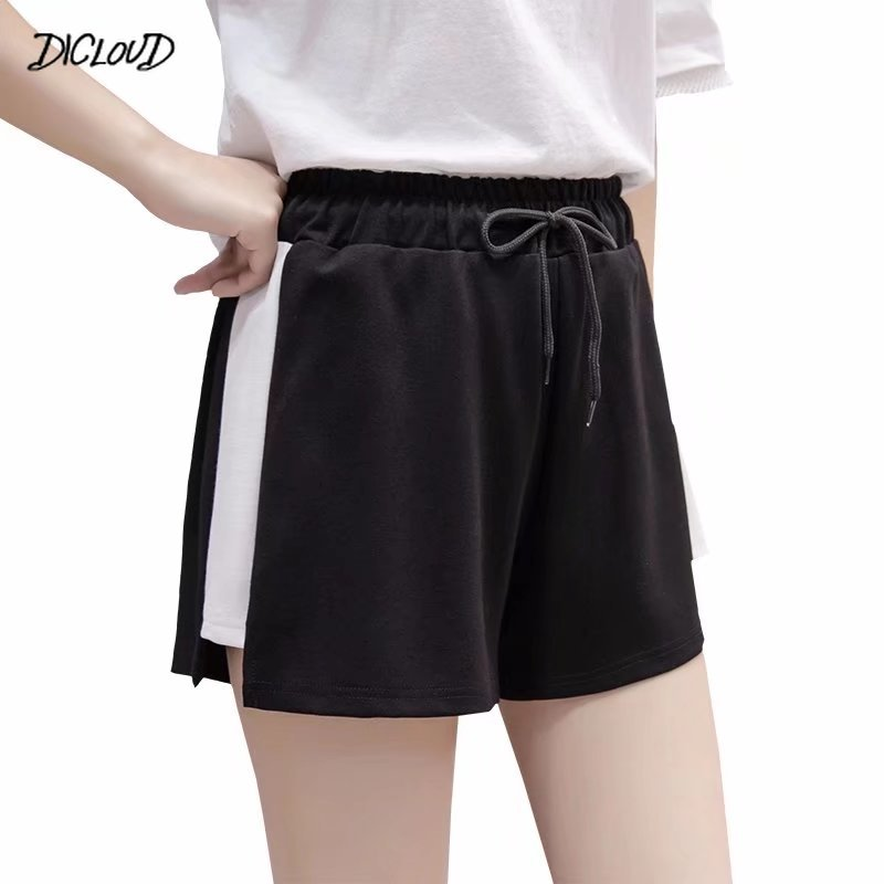 Women Drawstring Sport Shorts Casual Wide Leg Shorts Female High Waist Loose Casual Street Shorts Elastic Waist Women's Clothing