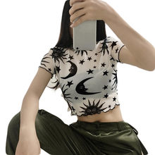 Jaycosin T-Shirt Women Spring Summer Sun Moon and Star Print Short Sleeve Mesh Sheer Crop Tops Female Simple Women Blouse Tops49(China)
