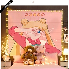 Custom tapestry Printed College dorm Blankets Sailor Moon Cartoon Wall Tapestry hanging Free star lights 2020 New Wall covering
