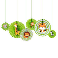 Safari Animal Paper Fans Kids Birthday Party Decortion Jungle Animal Photography Prop Zoo Animal Hanging 6pcs/pack(China)