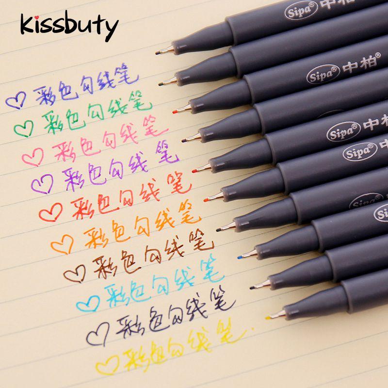 10 unids/set servicio micras pluma de Color línea dibujo bolígrafos 0,38mm Manga diseño de dibujos animados de coloración de papelería de la escuela suministros de arte