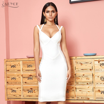 ADYCE New Summer White Bodycon Bandage Dress Women Sexy Halter Spaghetti Strap Sleeveless Club Celebrity Evening Party Dresses