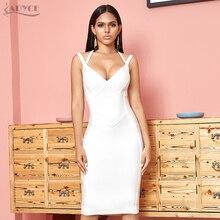 ADYCE yeni yaz beyaz Bodycon bandaj elbise kadınlar seksi Halter spagetti kayışı kolsuz kulüp ünlü akşam parti elbiseler