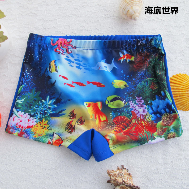 Cute Cartoon CHILDREN'S Swimming Trunks Boxer With Swim Cap BOY'S Swimsuit Size Child Wen Quan Bao Swimming Trunks Kids