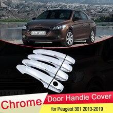 Для Peugeot 301 2013 2014 2015 2016 2017 2018 2019 хромированная крышка дверной ручки внешняя отделка улов Автомобильная крышка наклейки аксессуары ABS
