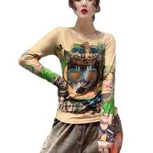 New Fashion 2019 Autumn kawaii long sleeve T-shirt Womens bottoming Korean Clothes shirts Camisas Mujer Printing 3029A7