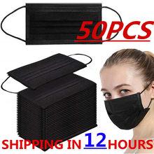 50pcs masques jetables masques Non tissés 3 couches pli filtre Anti-poussière respirant adulte bouche masque noir en STOCK navires rapides