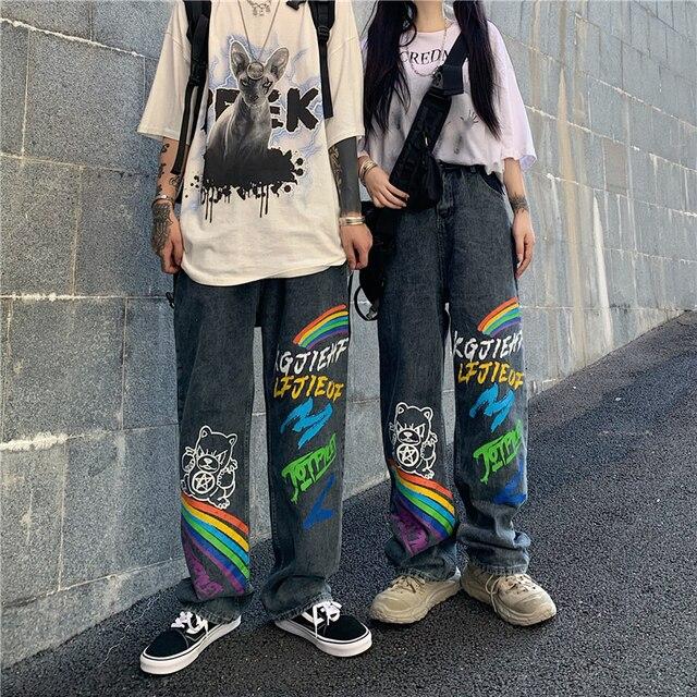 SHENGPALAE 2021 New Summer Autumn Casual Jeans Woman Long Trousers Cowboy Female Loose Streetwear Graffiti Print Pants ZA5047 6