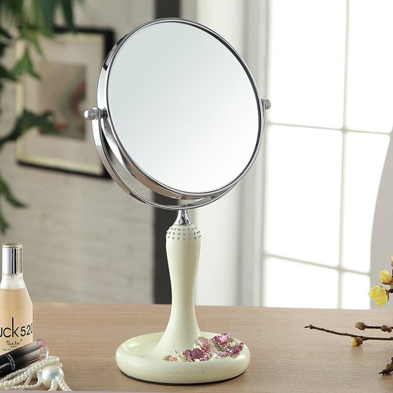 5/8 inch Bedroom european pansy princess makeup mirror simple desktop double-sided makeup mirror portable wedding mirror
