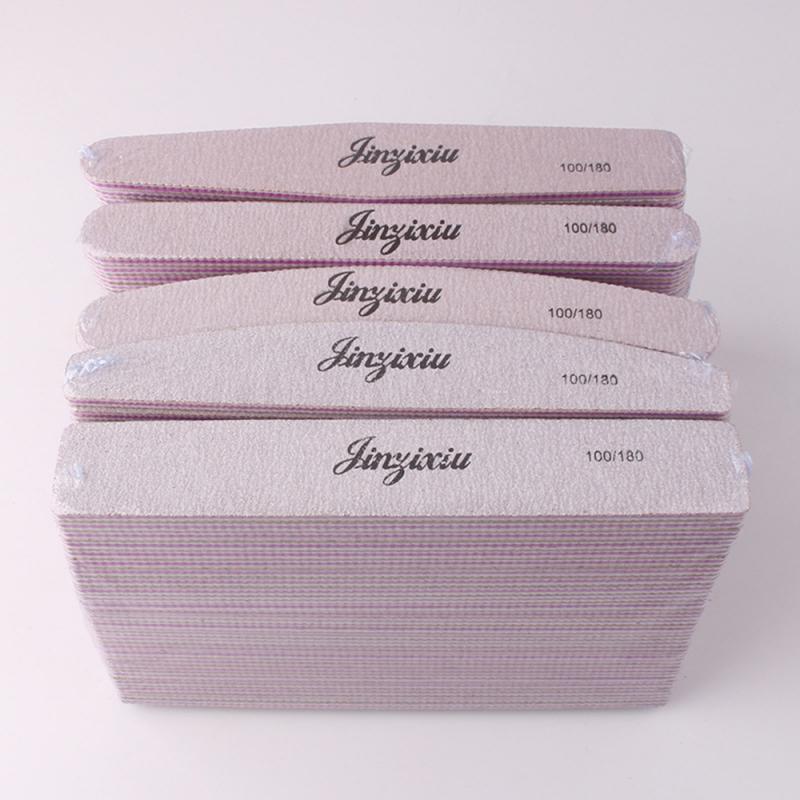 1pcs Sandpaper Nail File Lime 100/180 Double Side Sanding Buffer Block Set Pink  Nail Files For UV Gel Polish Manicure Tool