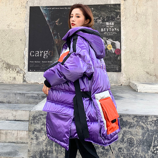2021 New Plus size loose Glossy Winter jacket women 90% White Duck Down coat Hooded Female Thick warm Windproof snow outwear Y21 1