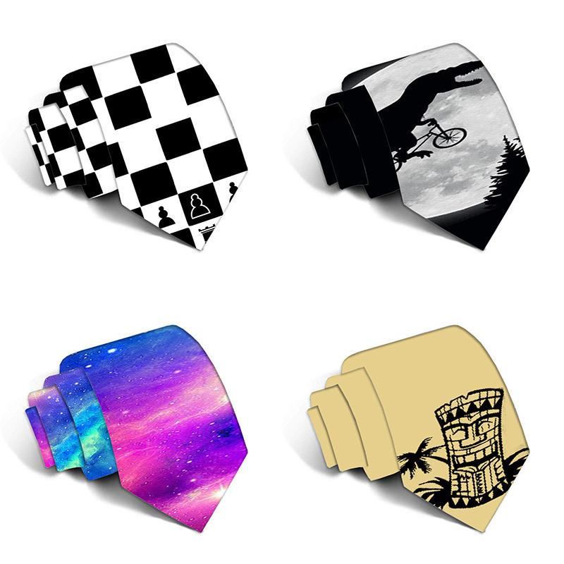 Fashion Funny Neckties For Men Cartoon Novelty Ties Colorful 3D Square Printed Neck Ties Wedding Gift Party Accessories 5LD16