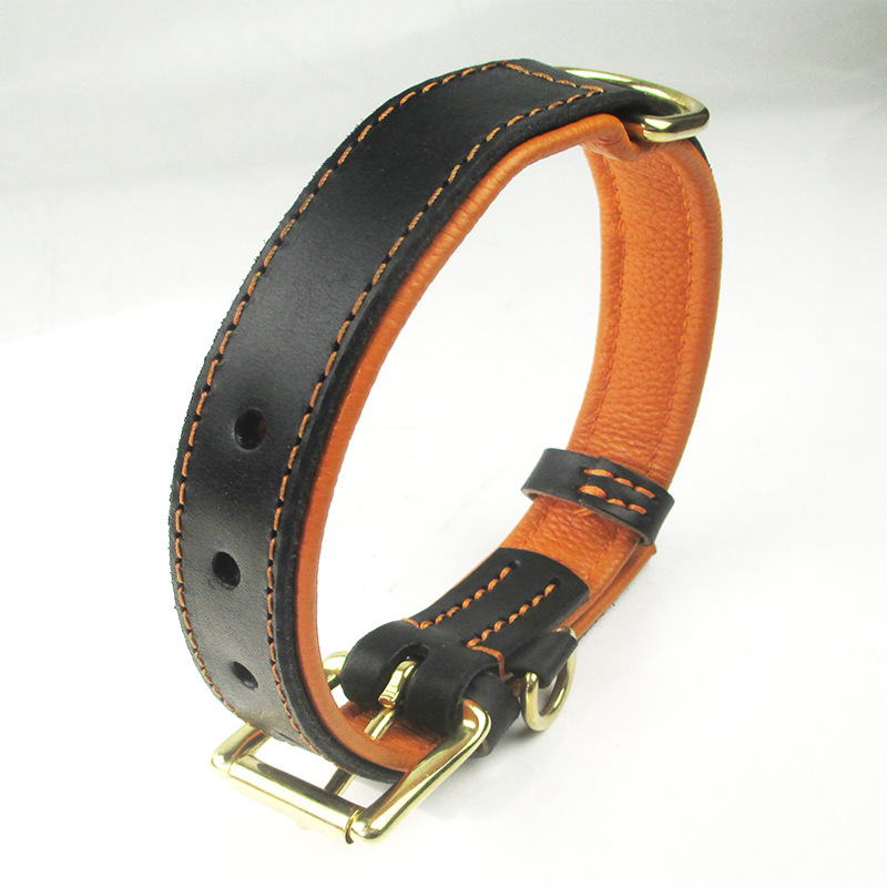 Fine Copper Pin Buckle Cow Leather Collar Double-Sided Paste Safe Grain Cow Leather Collar Anti-Wear Leather Dog Neck Ring Linin