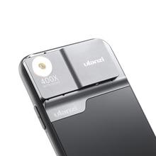 Ulanzi 400X מיקרוסקופ טלפון עדשת מקרה עבור iPhone 11 פרו מקס טלפון עדשת LED אור טלפון מקרה ערכת