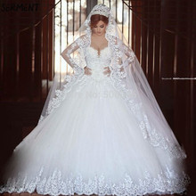 SERMENT Luxury Long Sleeve Wedding Dress Full Body Lace Floor-Length Pattern Suitable for Church Weddings  Autumn