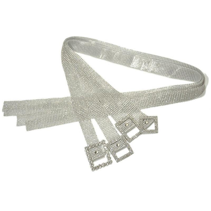 Meihuida Women Fashion Shiny Belt Waist Chain Crystal Diamond Alloy Waistband Full Rhinestone Luxury Wide Party Belt 5