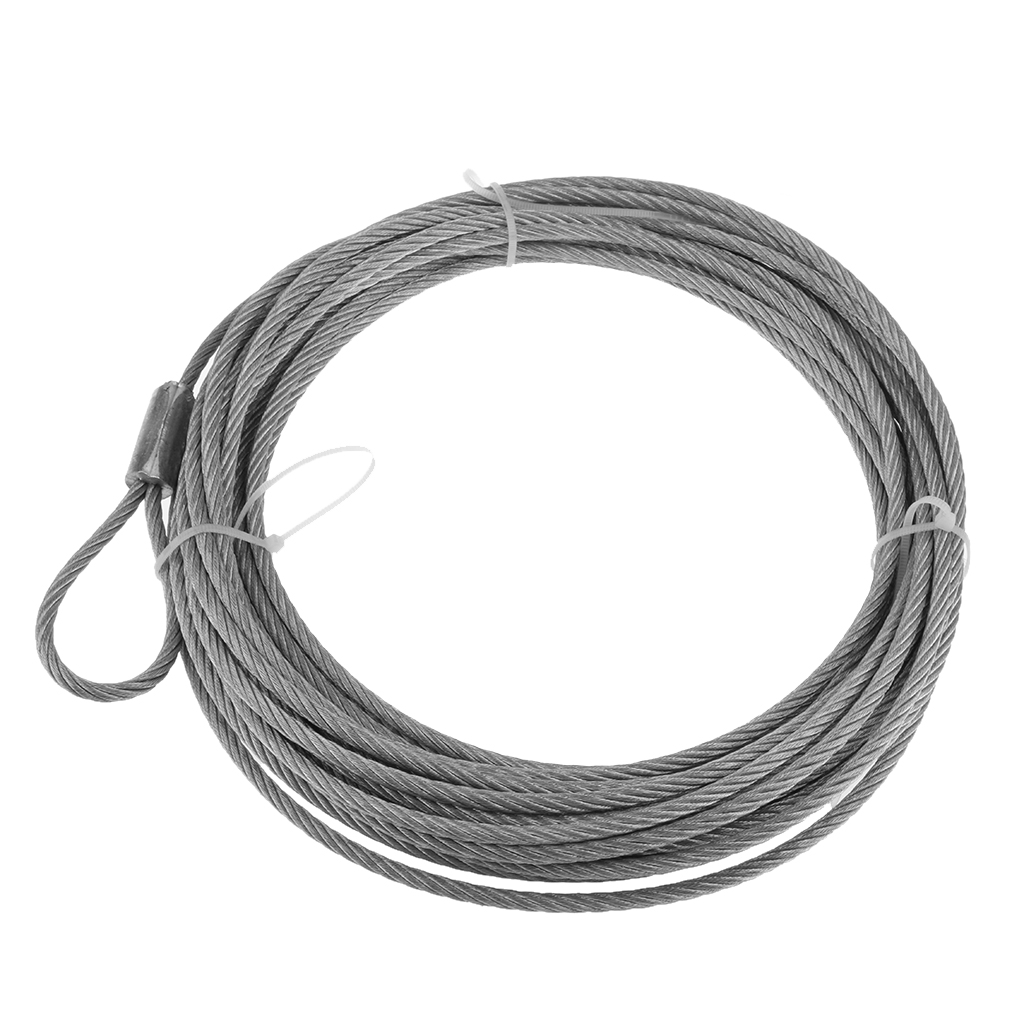 Steel Wire Winch Cable Rope Replacement For ATV UTV 12.2 M X 4.9 Mm Silver