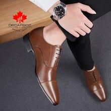 Gli uomini Pattini di Vestito Degli Uomini di 2020 di Modo di Autunno Formale Scarpe Uomo Casual Leahter Calzature Ufficio Lace Up Nuovo di Marca Progettato scarpe Da uomo