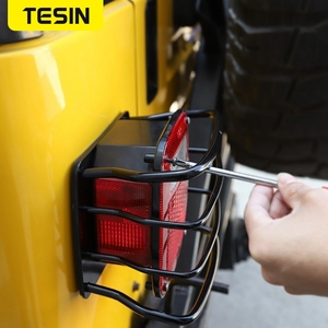 Image 5 - TESIN Metal Auto Tail Light Cover Trim Frame Rear Lamp Guard Protective Sticker for Jeep Wrangler TJ 1997 2006 Car Styling