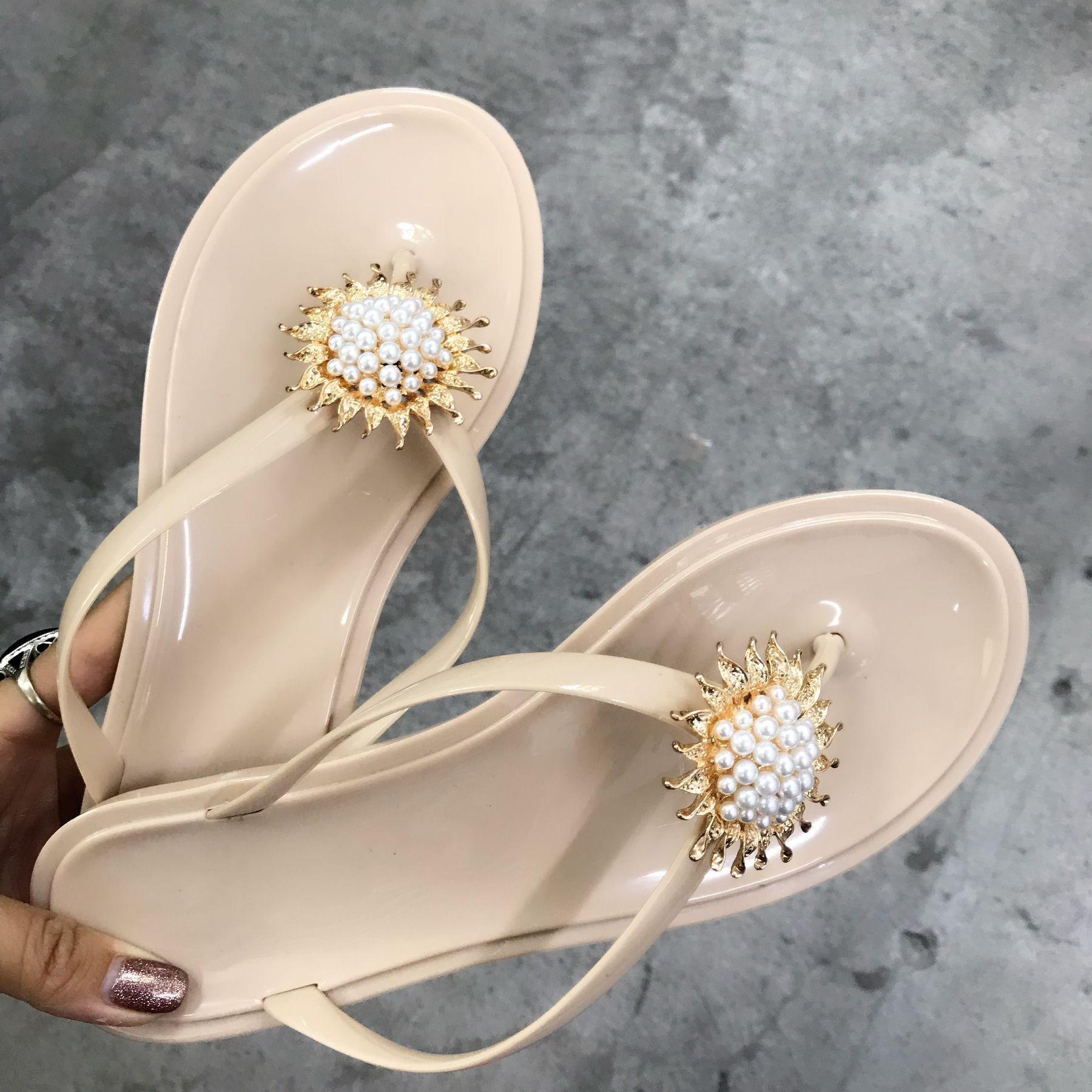 Summer Jelly Shoes fashion Transparent PVC Female Flip flops Beach Shoes Sun Flower Pearl Craft Sandals