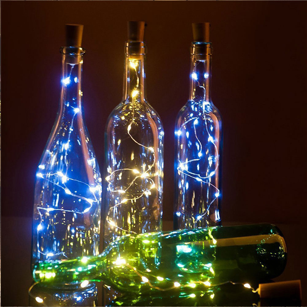 BRELONG 2M 20LEDs Wine Bottle Copper Wire Lamp DIY Holiday Decoration Lighting For Christmas Wedding Party Button Battery