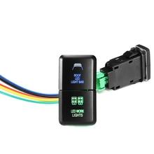 12V Car Dual LED Light Bar On-Off Push Switch Button Dual Color Blue/Green For Toyota Prado Hilux Landcruiser