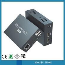 새로운 HDMI USB KVM 익스텐더 IP RJ45 이더넷 네트워크 KVM 익스텐더 USB HDMI 200M 오버 UTP/STP KVM 익스텐더 CAT5 CAT6