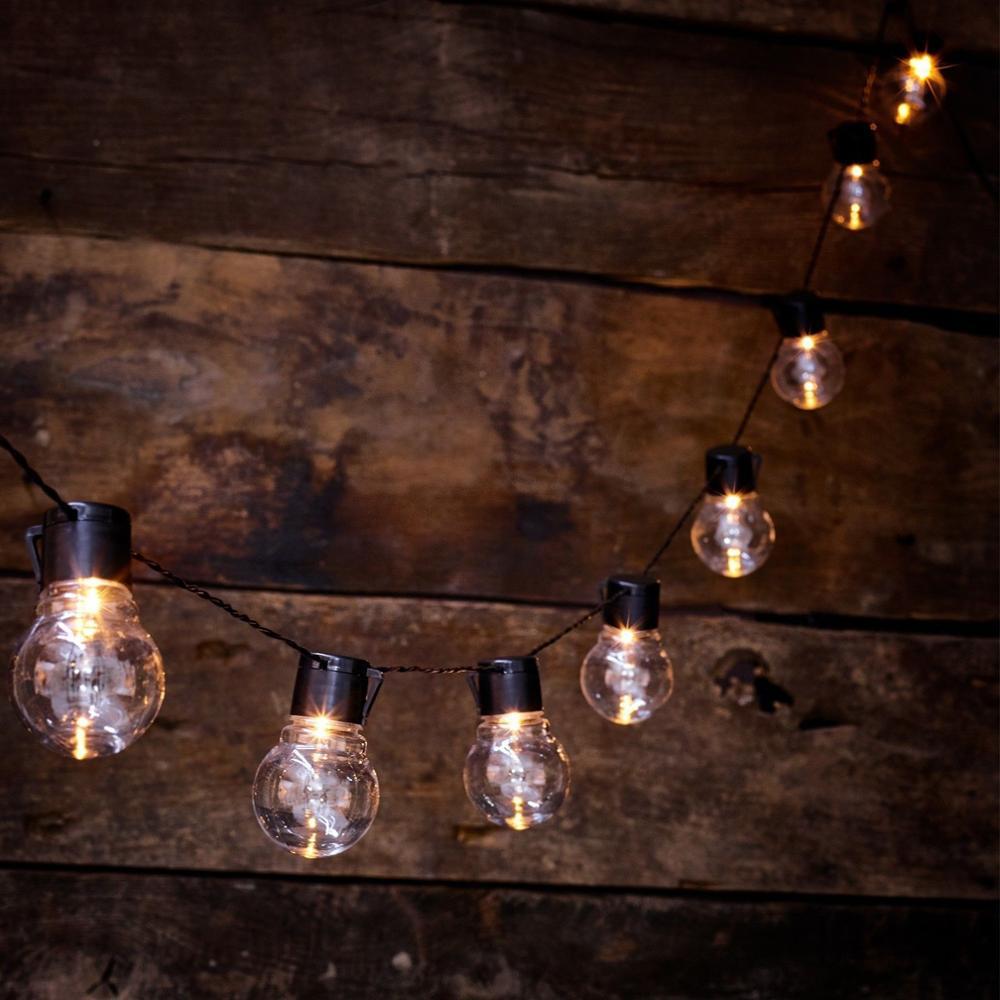 20 Led Vintage Globe String Light Garland Party Holiday Fairy Light Led Bulbs Decorative Wedding Light Battery Powered Lighting