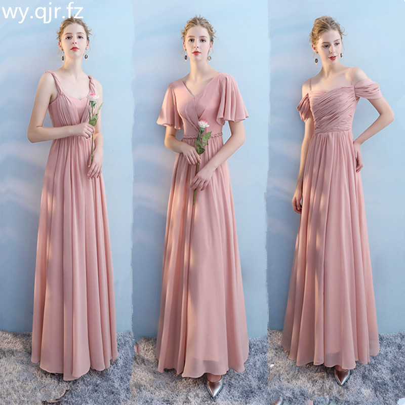 XMFS-73A#HalterBridesmaid Dress Long Lace Up Chiffon Pink Bra V-neck 6 Style Wedding Party Prom Dresses  Girls Cheap Wholesale