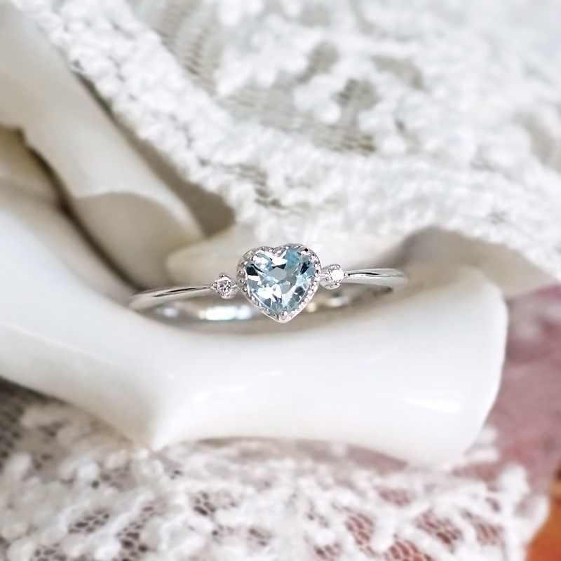 Blau kristall herz-geformt liebe ring top zirkon damen partei schmuck Valentinstag mode geschenke elegante weibliche ring