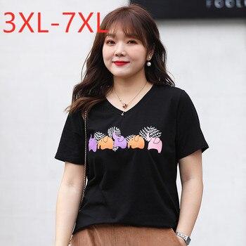 Nuevo 2020 corea del verano de talla grande para las mujeres grande, suelto de manga corta negro estampado de animales, de algodón Camiseta con cuello en V de 4XL 5XL 6XL 7XL