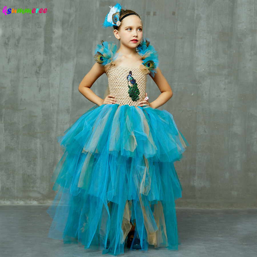 LIMITED EDITION Luxury Girls Peacock Tutu Dress With Matching Headband Multi-layer Kids Pageant Tulle Ball Gowns Peacock Costume