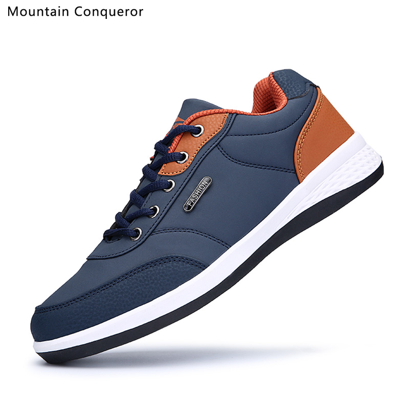 Mountain Conqueror Men PU Leather Sneakers Breathable Casual Shoes Slip-on Outdoor Walking Shoes Lace-up Rubber Flats