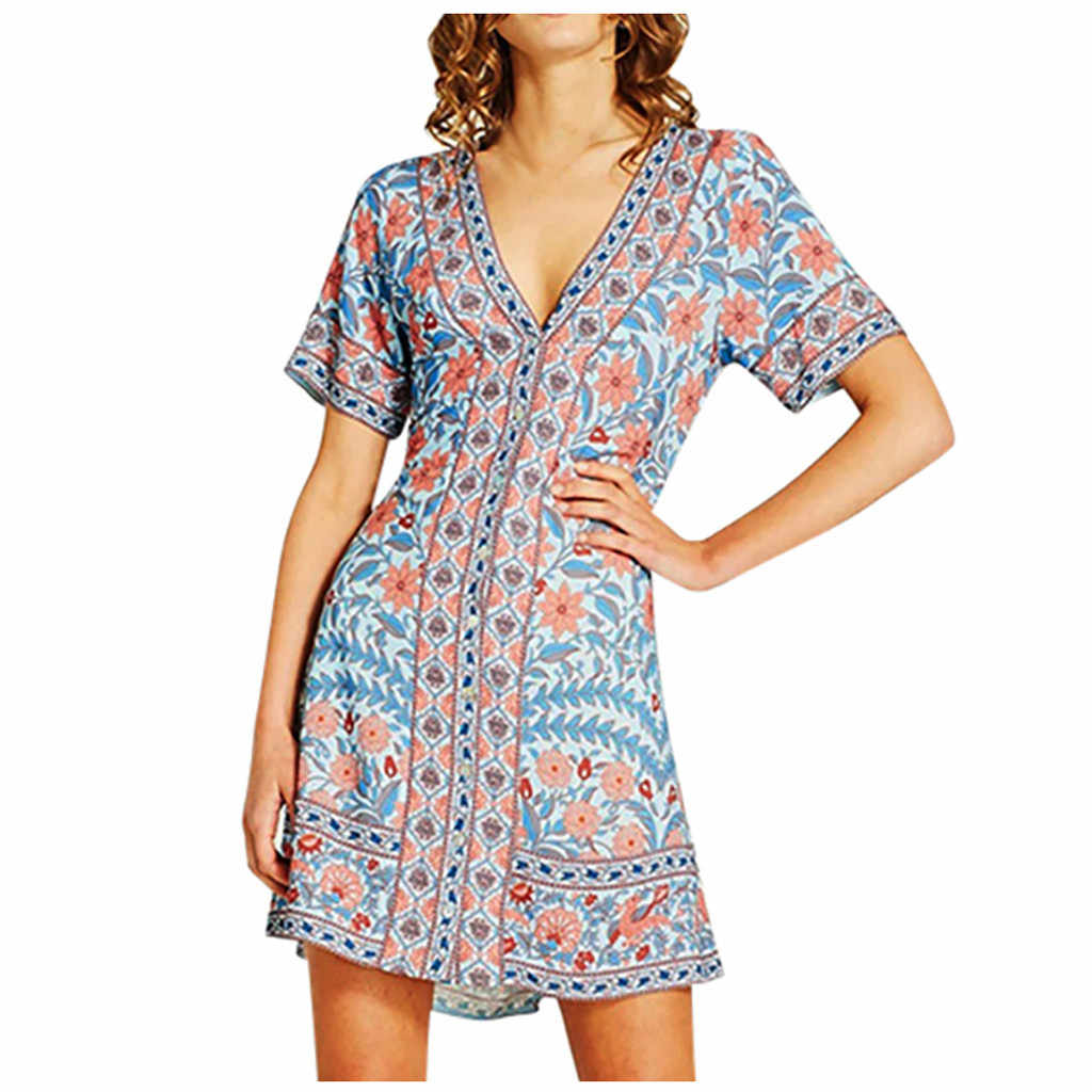 Women Dress V-Neck MINI Flower Print Bandage Button Short Sleeve Vacation Vacation Bohemian Casual Dress Fashion