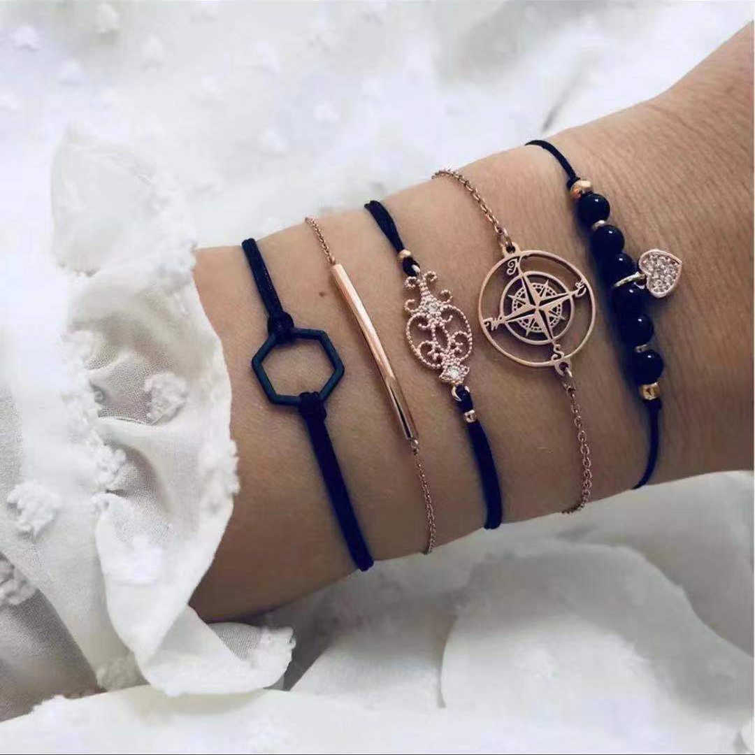 20 Styles Women Girls Mix Round alloy Crystal Marble Charm Bracelets Fashion Boho Heart Shell Letter Bracelets Sets Jewelry Gift