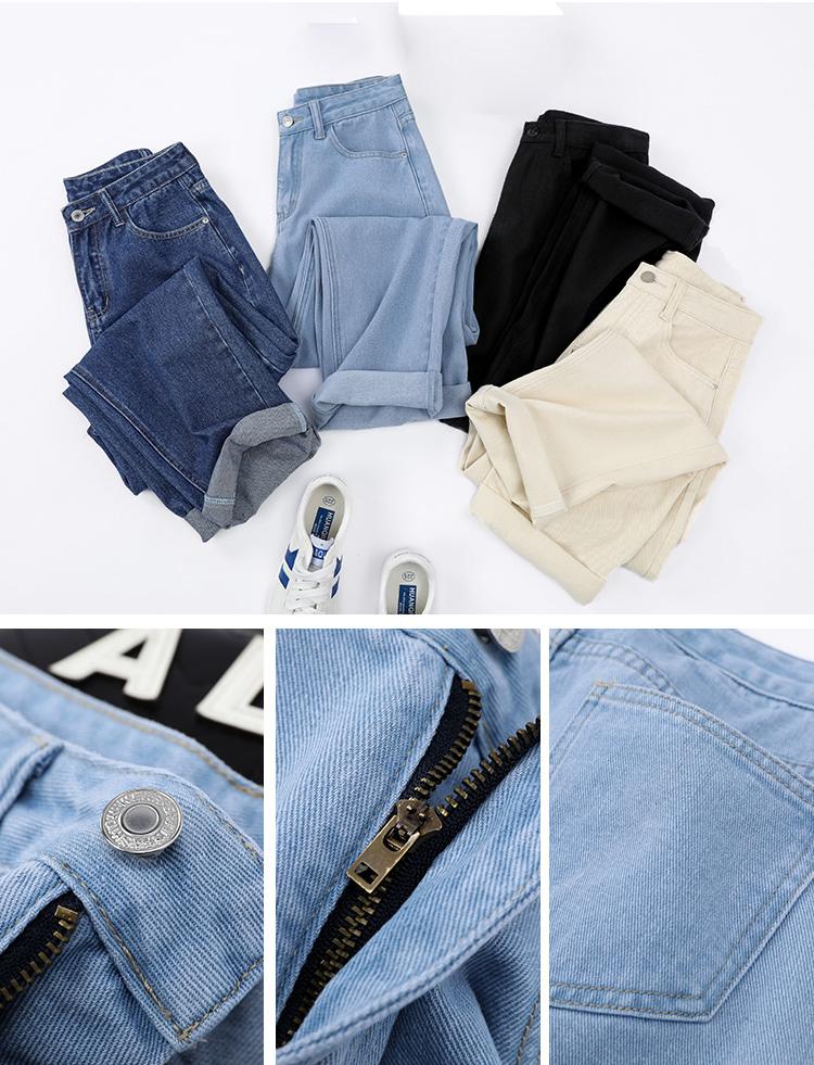 Elastic Waist Jeans Women High Wais Plus Size Denim Harem Pants Casual Female Mom Jeans Korean Fashion 2020 Black Beige Blue
