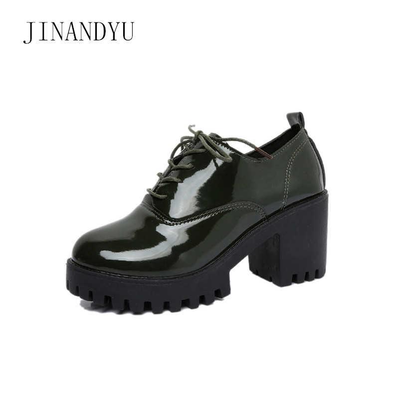 Lace Up Oxford topuklu kadın Patent deri blok topuk ayakkabı sonbahar yeni ofis ayakkabı kadınlar yüksek topuklu Platform Kitten topuklu