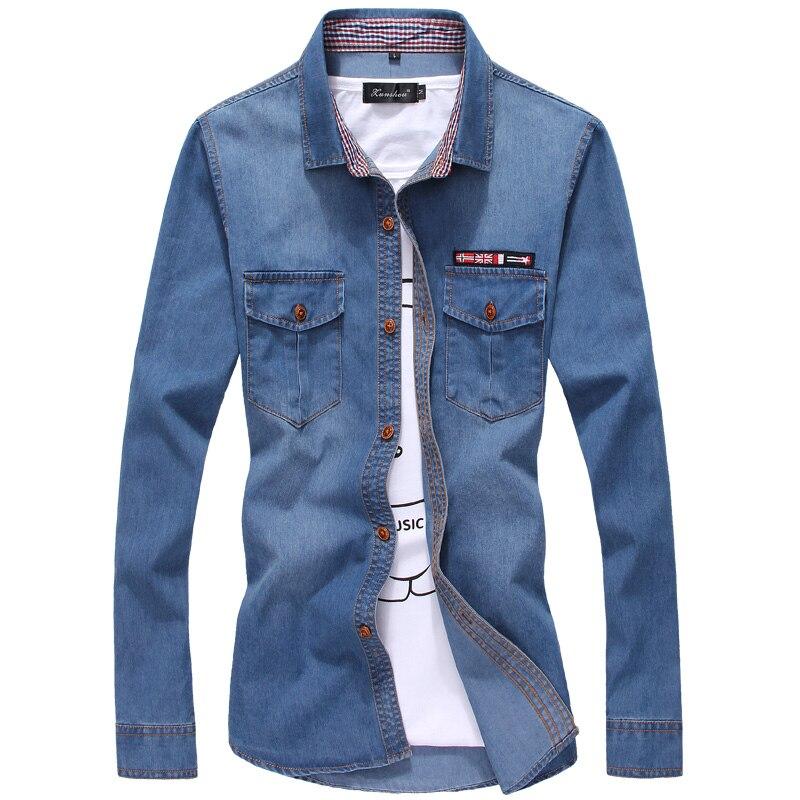 Business Shirt Men Autumn Fashion Euro-American Shirt Denim Long-sleeved Button Male Social Casual Solid Shirt Blouse